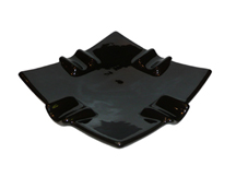 Black Ceramic Curved Square Cigar Ashtray - Accommodates 4 Cigars