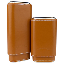 Craftsman's Bench Tan & Silver 3-Finger Churchill and Robusto Cigar Cases