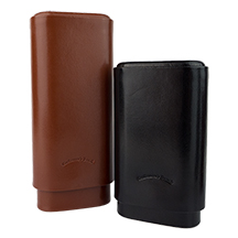 Craftsman's Bench Smooth Leather 3-Finger Churchill and Robusto Cigar Cases