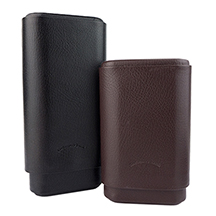Craftsman's Bench Pebble Grain Leather 3-Finger Churchill and Robusto Cigar Cases for 60 Ring Gauge Cigars