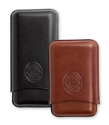 Diamond Crown Leather Series Churchill and Robusto 3-Finger Cigar Cases