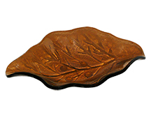 San Felipe Tobacco Leaf Shaped Glass Cigar Ashtray by Craftsman's Bench  - Accommodates 2 Cigars