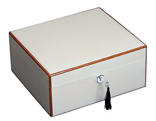Diamond Crown The Peabody Off White Pebble Grain Texture Cigar Humidor