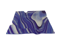 Blue Translucent Marbled Glass Cigar Ashtray - Accommodates 4 Cigars