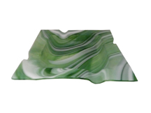 Green Translucent Marbled Glass Cigar Ashtray - Accommodates 4 Cigars