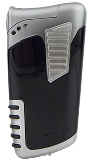 Lotus Double Down Combination Cigar & Pipe Lighter in Glossy Black &Chrome Velour Finish