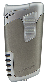 Lotus Double Down Combination Cigar & Pipe Lighter in Gray &Chrome Velour Finish