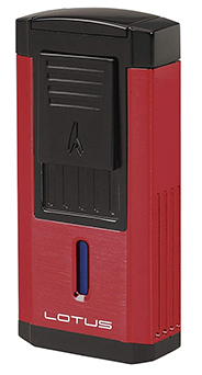 Lotus Duke Triple Torch Flame Cigar Lighter/Cutter Combo in Red & Black Finish