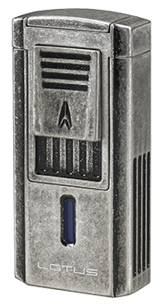 Lotus Duke V Triple Torch Flame Cigar Lighter/Cutter Combo in Antique Pewter Finish