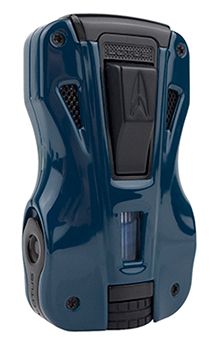 Lotus GT Twin Torch Flame Cigar Lighter/Dual Punch Combo in Blue & Black Finish