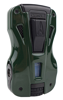 Lotus GT Twin Torch Flame Cigar Lighter/Dual Punch Combo in Green & Black Finish