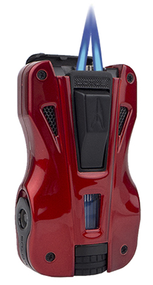 Lotus GT Twin Torch Flame Cigar Lighter/Dual Punch Combo in Red & Black Finish