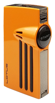 Lotus L52 Orion Twin Torch Flame Cigar Lighter with Punch in Polished Orange & Black Finish