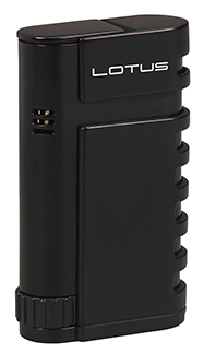 Lotus Mercury Twin Torch Flame Cigar Lighter with Punch in Black Matte Finish