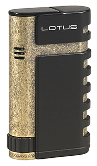 Lotus Mercury Twin Torch Flame Cigar Lighter with Punch in Black Matte & Antique Brass Finish