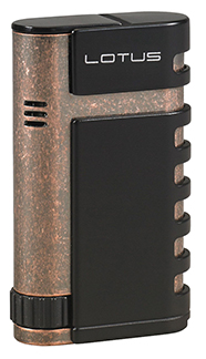 Lotus Mercury Twin Torch Flame Cigar Lighter with Punch in Black Matte & Antique Copper Finish