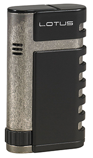 Lotus Mercury Twin Torch Flame Cigar Lighter with Punch in Black Matte & Pewter Finish