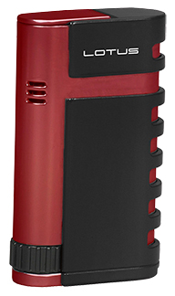 Lotus Mercury Twin Torch Flame Cigar Lighter with Punch in Black Matte & Red Finish