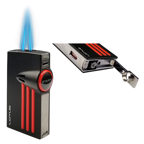 Lotus L52 Orion Cigar Lighter with Twin Flame and Fold-Out Punch Displayed