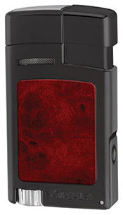 XIKAR Forte Soft Flame Cigar Lighter in Black & Burl Finish