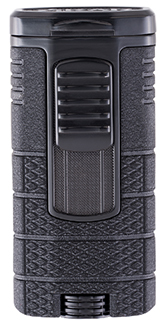 XIKAR Tactical Triple Jet Flame Cigar Lighter in Black and Black Finish