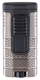 XIKAR Tactical Triple Jet Flame Cigar Lighter in Gunmetal and Black Finish