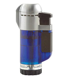 XIKAR Tech Single Jet Flame Cigar Lighter in Transparent Blue Finish