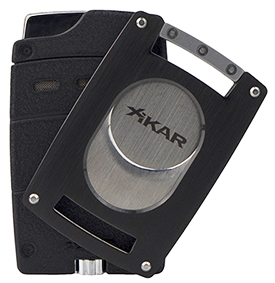 XIKAR Ultra Single Jet Flame Cigar Lighter/Cutter Combo in Black Finish