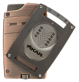 XIKAR Ultra Single Jet Flame Cigar Lighter/Cutter Combo in Vintage Bronze and Gunmetal Finish