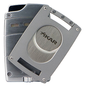 XIKAR Ultra Single Jet Flame Cigar Lighter/Cutter Combo in Silver Finish