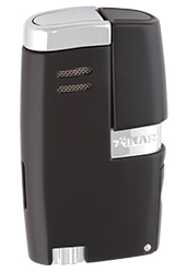XIKAR Vitara Double Jet Flame Cigar Lighter with 7mm Cigar Punch in Black Finish