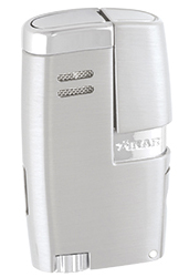 XIKAR Vitara Double Jet Flame Cigar Lighter with 7mm Cigar Punch in Brushed Silver Finish