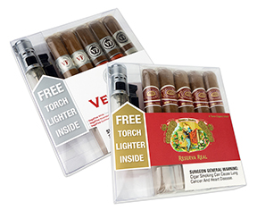 Two New Premium Cigar Samplers with FREE Torch Lighters Included!
