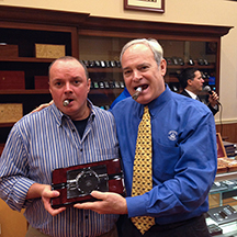 Tim's ticket won him a Diamond Crown Windsor crystal and wood cigar ashtray.  Not too shabby!