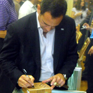 Jorge Autographs a Box of Family Reserve No. 46 Cigars for Charles S.