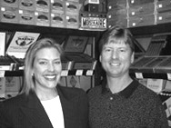 Renee and David Meyer inside the store's walk-in humidor.