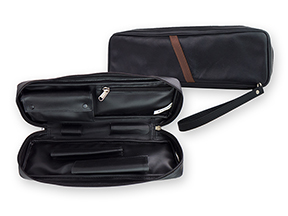 Castleford Black Leather Churchwarden 2-Pipe Travel Cases
