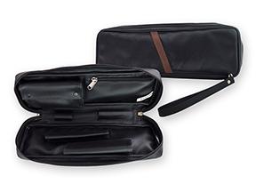 Castleford Black Leather Churchwarden 2-Pipe Travel Cases
