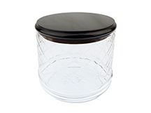 Solid Dark Walnut and Clear Glass Tobacco Jar with Humidifier