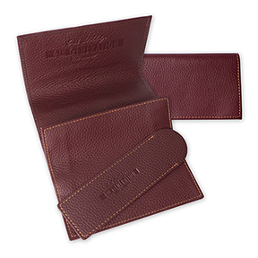 Erik Stokkebye 4th Generation Red Leather Roll-Up Tobacco Pouch with Pipe Cleaner Sleeve