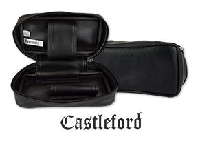 Castleford Black Leather 2-Pipe Travel Cases Just Added!
