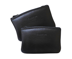 Castleford Leather Zippered 5 1/4 Inch Tobacco Pouches in Black Only