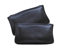 Castleford Leather Zippered 6 Inch Tobacco Pouches in Black Only