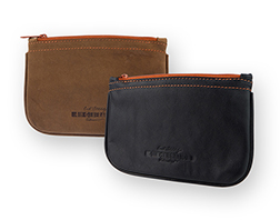 Erik Stokkebye Hunter Brown and Black Leather Zippered Tobacco Pouches
