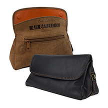 Erik Stokkebye 4th Generation Hunter Brown and Kenzo Black Leather Combination Tobacco Pouch/Pipe Carrier with Pipe Tool Compartment