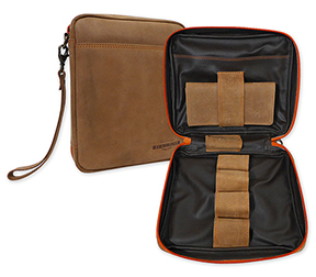 Erik Stokkebye 4th Generation Hunter Brown Leather 4-Pipe Case w/Tobacco Pouch