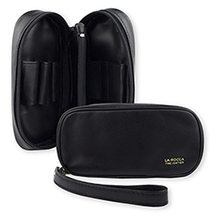 La Rocca Leather 2-Pipe Travel Case