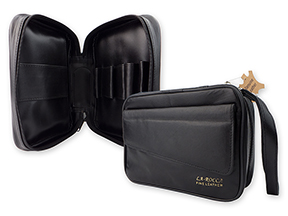 La Rocca Leather 4-Pipe Travel Cases