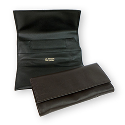 La Rocca Brown Leather Roll-Up Tobacco Pouch with Pipe Tool Compartments