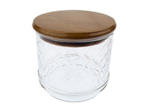 Solid Teak and Clear Glass Tobacco Jar with Humidifier